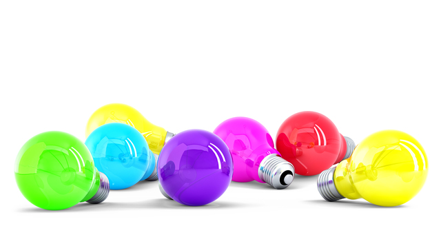 Colorful Light bulbs. Isolated. Contains clipping path