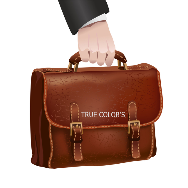Businessman hand holds leather briefcase